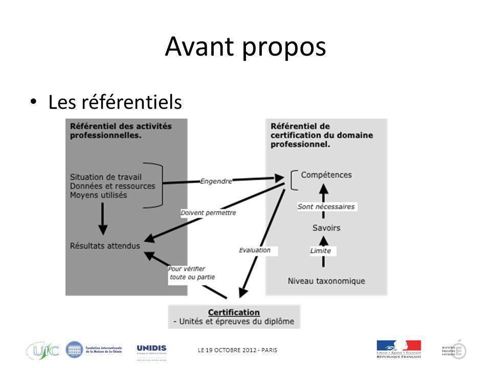 LE 19 OCTOBRE 2012 - PARIS Avant propos Les référentiels