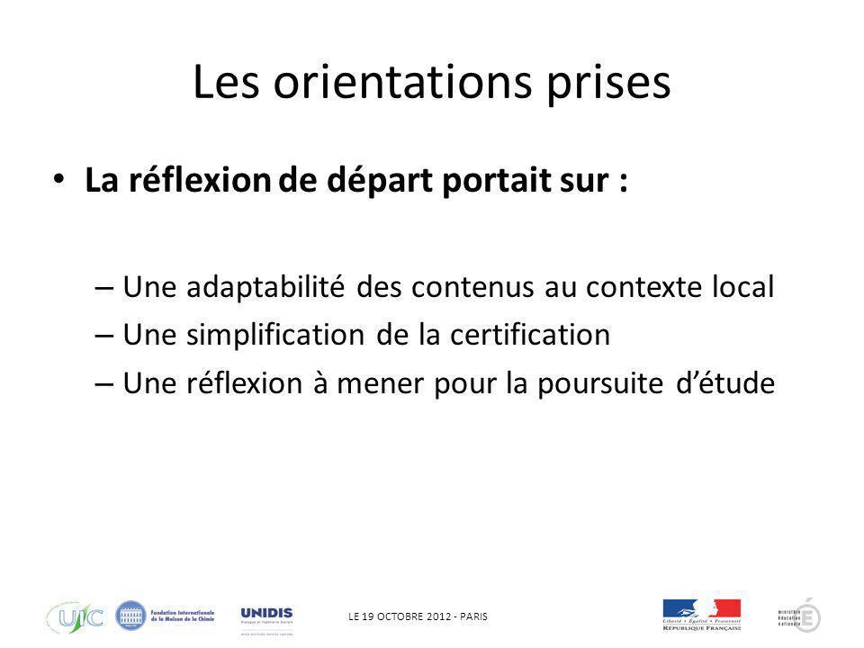 LE 19 OCTOBRE 2012 - PARIS Les orientations prises La réflexion de départ portait sur : – Une adaptabilité des contenus au contexte local – Une simpli