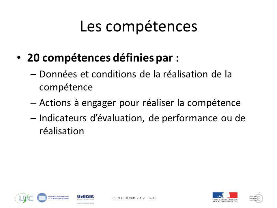 LE 19 OCTOBRE 2012 - PARIS Les compétences 20 compétences définies par : – Données et conditions de la réalisation de la compétence – Actions à engage