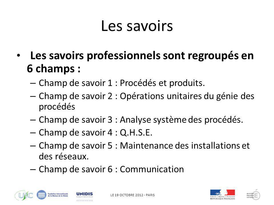 LE 19 OCTOBRE 2012 - PARIS Les savoirs Les savoirs professionnels sont regroupés en 6 champs : – Champ de savoir 1 : Procédés et produits. – Champ de