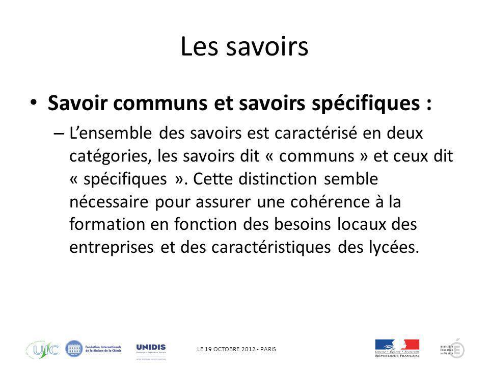LE 19 OCTOBRE 2012 - PARIS Les savoirs Savoir communs et savoirs spécifiques : – Lensemble des savoirs est caractérisé en deux catégories, les savoirs
