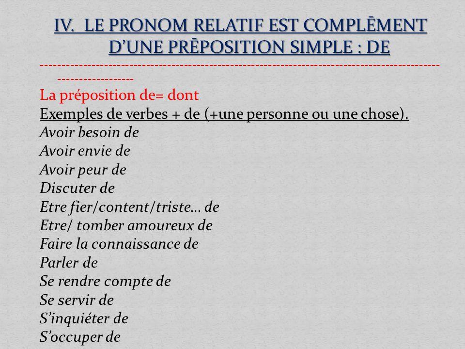 IV. LE PRONOM RELATIF EST COMPLĒMENT DUNE PRĒPOSITION SIMPLE : DE ------------------------------------------------------------------------------------