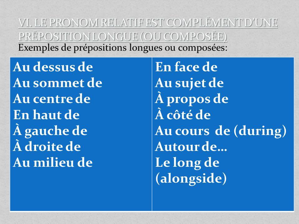 Exemples de prépositions longues ou composées: Au dessus de Au sommet de Au centre de En haut de À gauche de À droite de Au milieu de En face de Au su