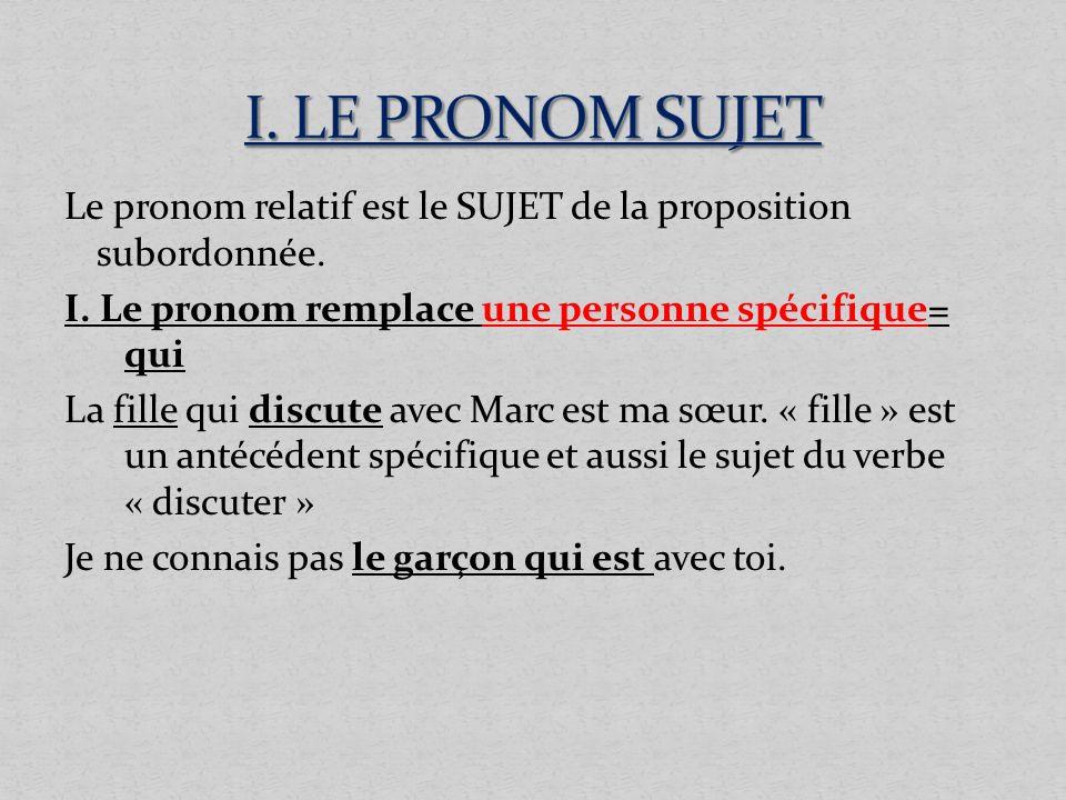 Le pronom relatif est le SUJET de la proposition subordonnée. I. Le pronom remplace une personne spécifique= qui La fille qui discute avec Marc est ma