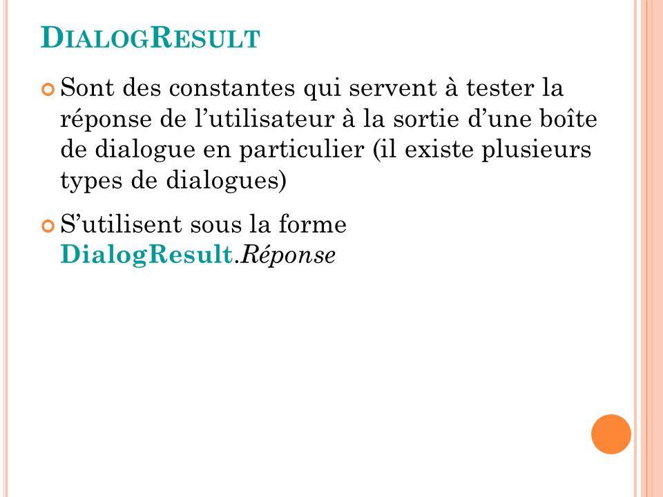 D IALOG R ESULT Sont des constantes qui servent à tester la réponse de lutilisateur à la sortie dune boîte de dialogue en particulier (il existe plusieurs types de dialogues) Sutilisent sous la forme DialogResult.