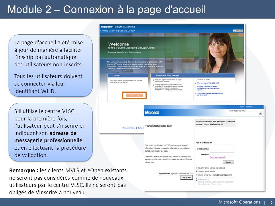 10 Module 2 – Connexion à la page d'accueil La page d'accueil a été mise à jour de manière à faciliter l'inscription automatique des utilisateurs non