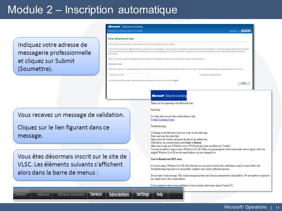 11 Module 2 – Inscription automatique Indiquez votre adresse de messagerie professionnelle et cliquez sur Submit (Soumettre). Vous recevez un message