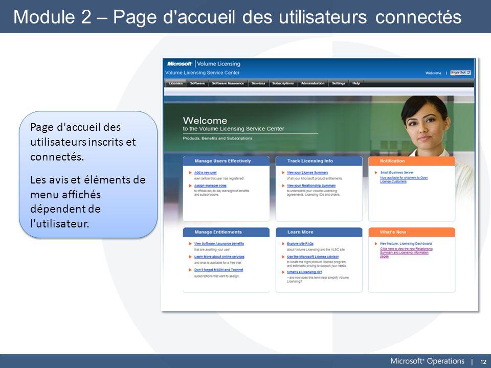 12 Module 2 – Page d'accueil des utilisateurs connectés Page d'accueil des utilisateurs inscrits et connectés. Les avis et éléments de menu affichés d