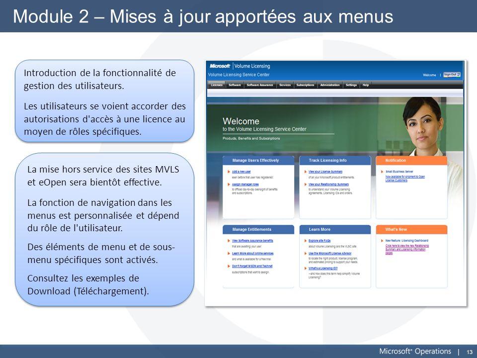 13 Module 2 – Mises à jour apportées aux menus Introduction de la fonctionnalité de gestion des utilisateurs. Les utilisateurs se voient accorder des