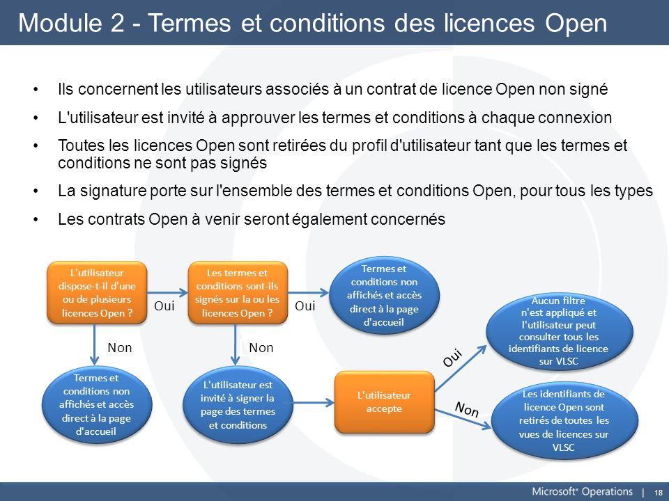 18 Module 2 - Termes et conditions des licences Open Ils concernent les utilisateurs associés à un contrat de licence Open non signé L'utilisateur est