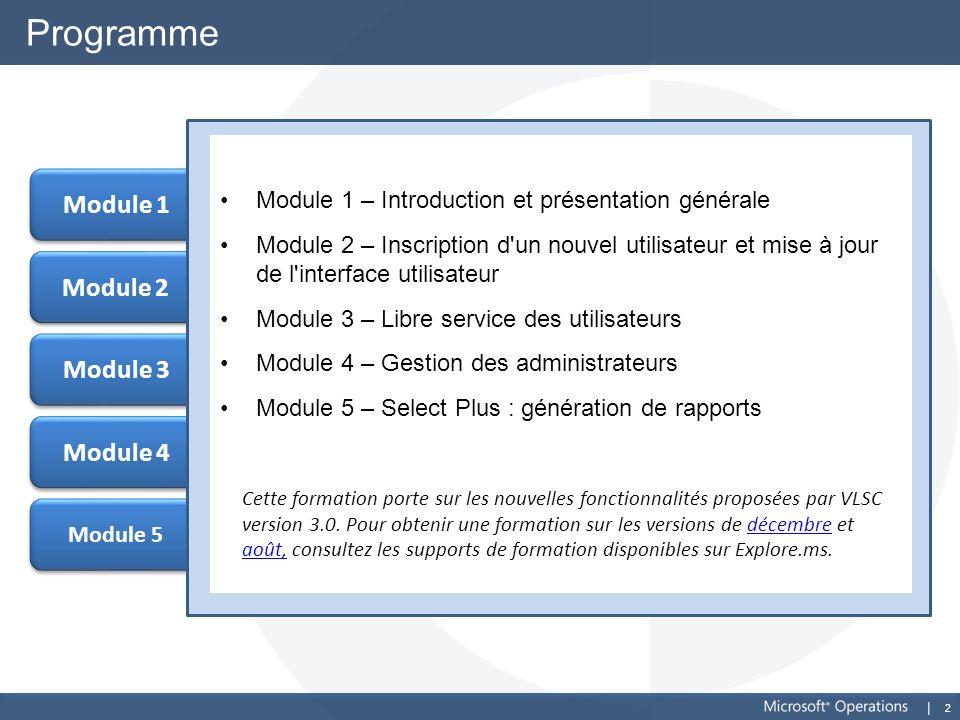 2 Module 5 Module 2 Programme Module 1 – Introduction et présentation générale Module 2 – Inscription d'un nouvel utilisateur et mise à jour de l'inte