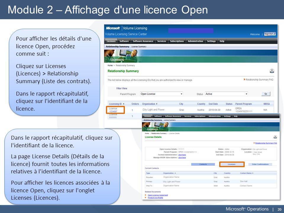 20 Module 2 – Affichage d'une licence Open Pour afficher les détails d'une licence Open, procédez comme suit : Cliquez sur Licenses (Licences) > Relat