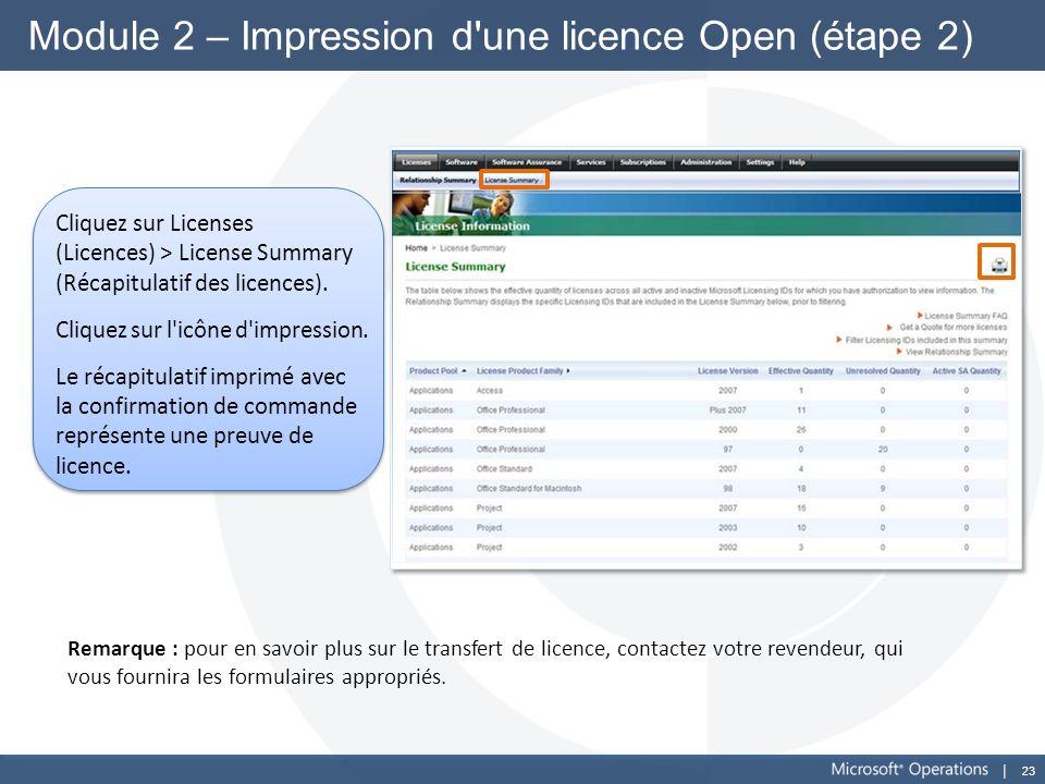 23 Module 2 – Impression d'une licence Open (étape 2) Cliquez sur Licenses (Licences) > License Summary (Récapitulatif des licences). Cliquez sur l'ic