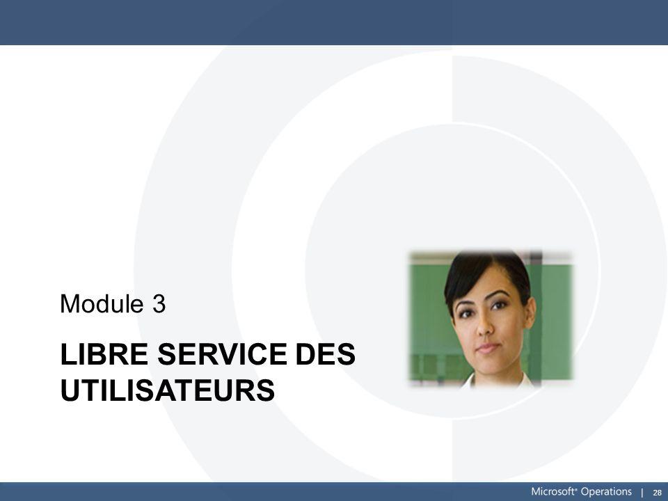 28 LIBRE SERVICE DES UTILISATEURS Module 3