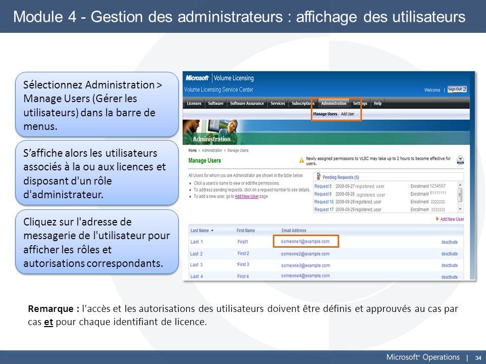 34 Module 4 - Gestion des administrateurs : affichage des utilisateurs Sélectionnez Administration > Manage Users (Gérer les utilisateurs) dans la bar