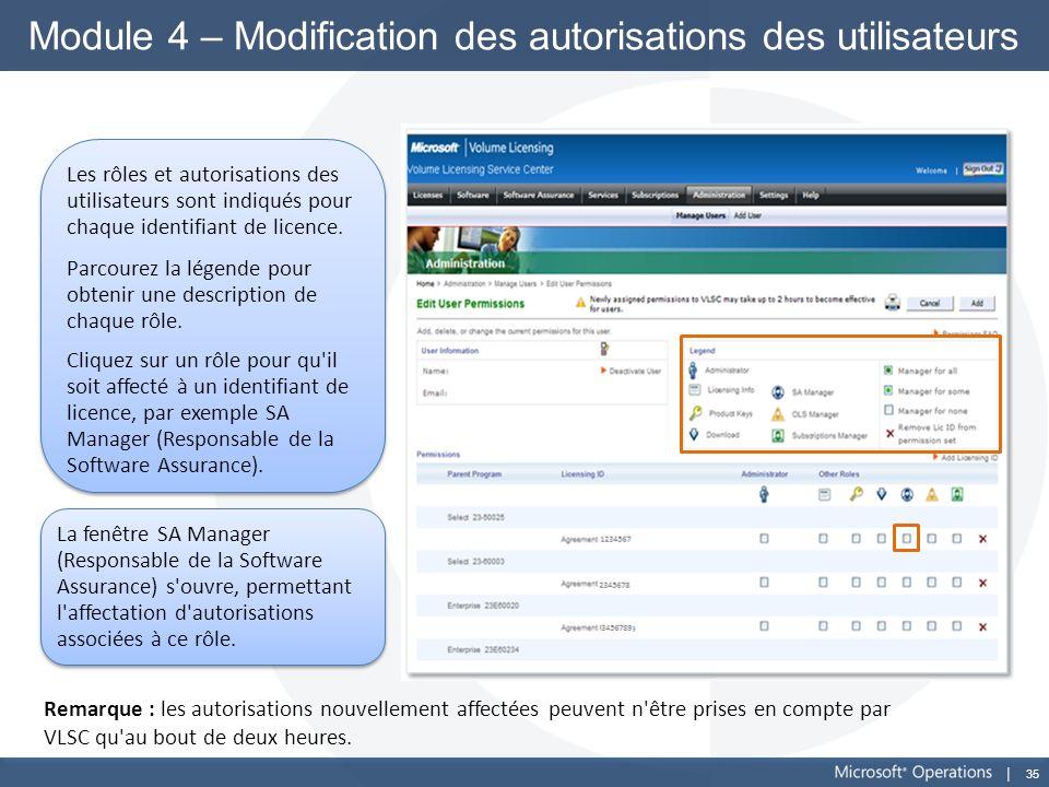 35 Module 4 – Modification des autorisations des utilisateurs Les rôles et autorisations des utilisateurs sont indiqués pour chaque identifiant de lic