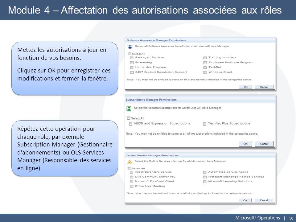 36 Module 4 – Affectation des autorisations associées aux rôles Mettez les autorisations à jour en fonction de vos besoins. Cliquez sur OK pour enregi