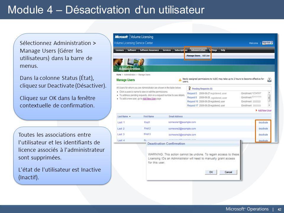 42 Module 4 – Désactivation d'un utilisateur Sélectionnez Administration > Manage Users (Gérer les utilisateurs) dans la barre de menus. Dans la colon