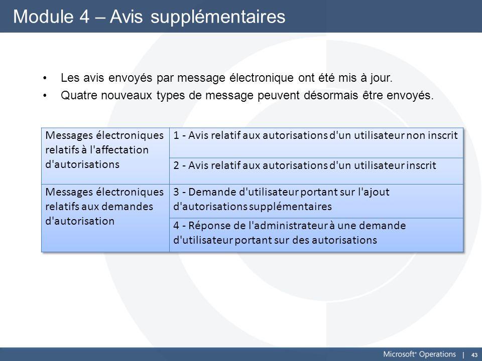 43 Module 4 – Avis supplémentaires Les avis envoyés par message électronique ont été mis à jour. Quatre nouveaux types de message peuvent désormais êt