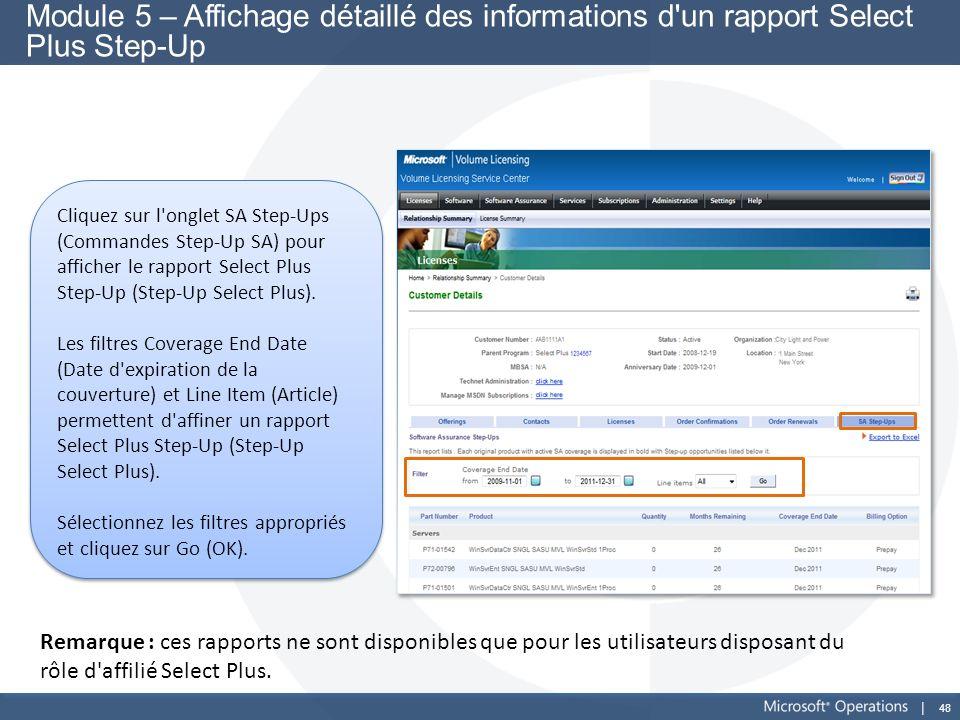 48 Module 5 – Affichage détaillé des informations d'un rapport Select Plus Step-Up Cliquez sur l'onglet SA Step-Ups (Commandes Step-Up SA) pour affich
