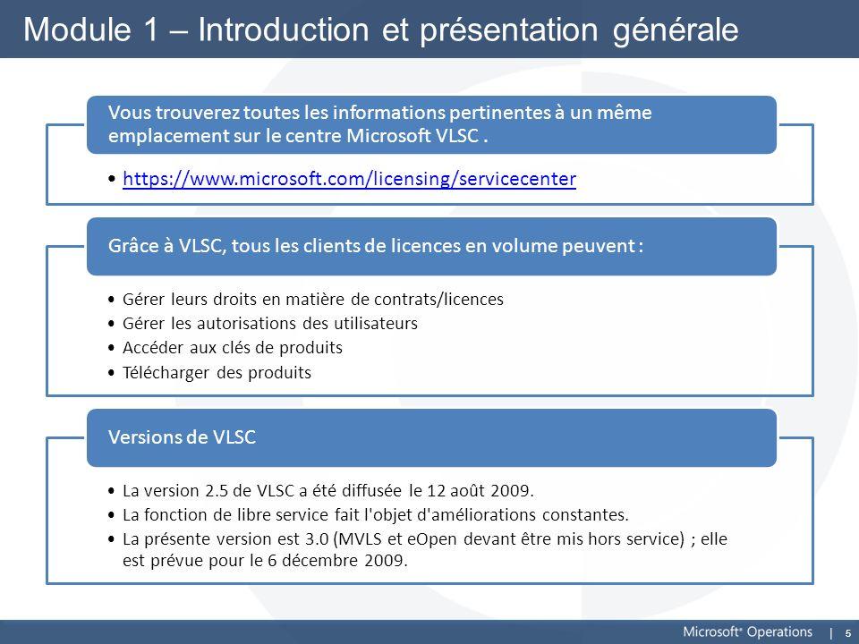 5 Module 1 – Introduction et présentation générale https://www.microsoft.com/licensing/servicecenter Vous trouverez toutes les informations pertinente