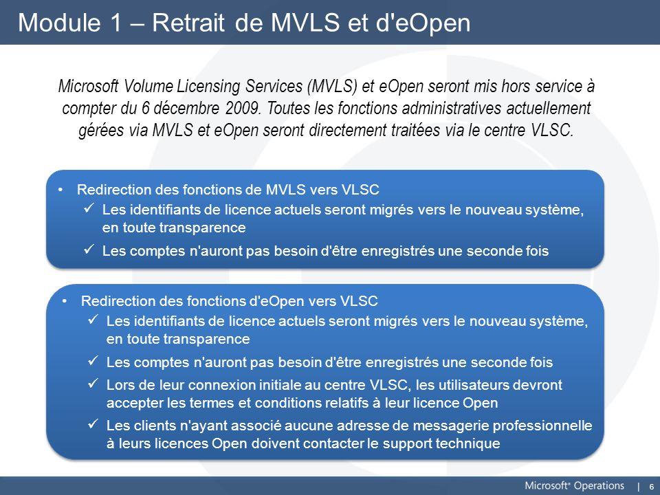 6 Module 1 – Retrait de MVLS et d'eOpen Microsoft Volume Licensing Services (MVLS) et eOpen seront mis hors service à compter du 6 décembre 2009. Tout