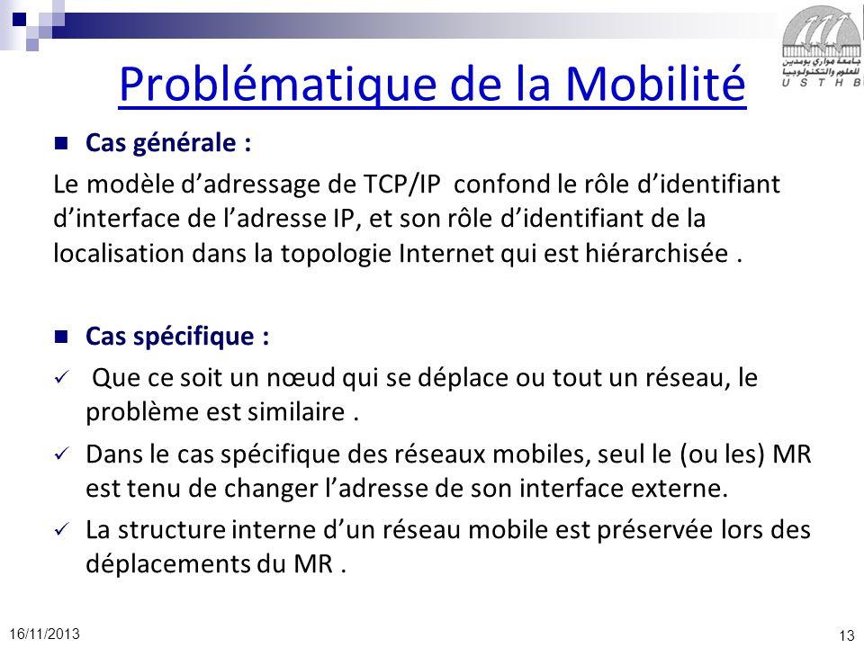 13 16/11/2013 Problématique de la Mobilité Cas générale : Le modèle dadressage de TCP/IP confond le rôle didentifiant dinterface de ladresse IP, et so