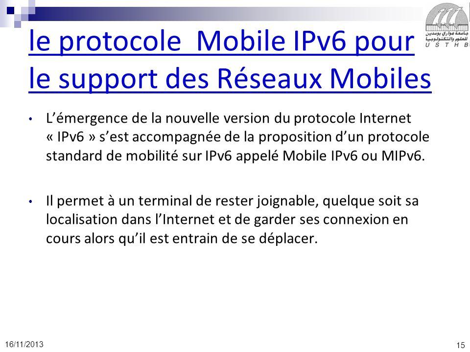 15 16/11/2013 le protocole Mobile IPv6 pour le support des Réseaux Mobiles Lémergence de la nouvelle version du protocole Internet « IPv6 » sest accom