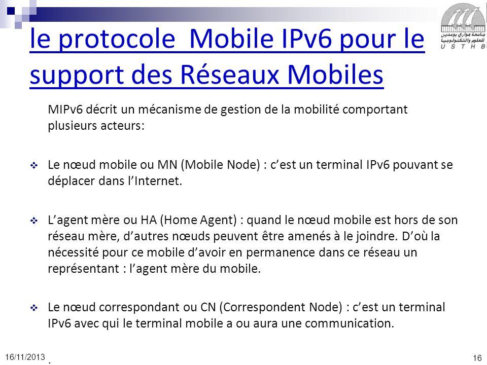 16 16/11/2013 le protocole Mobile IPv6 pour le support des Réseaux Mobiles MIPv6 décrit un mécanisme de gestion de la mobilité comportant plusieurs ac