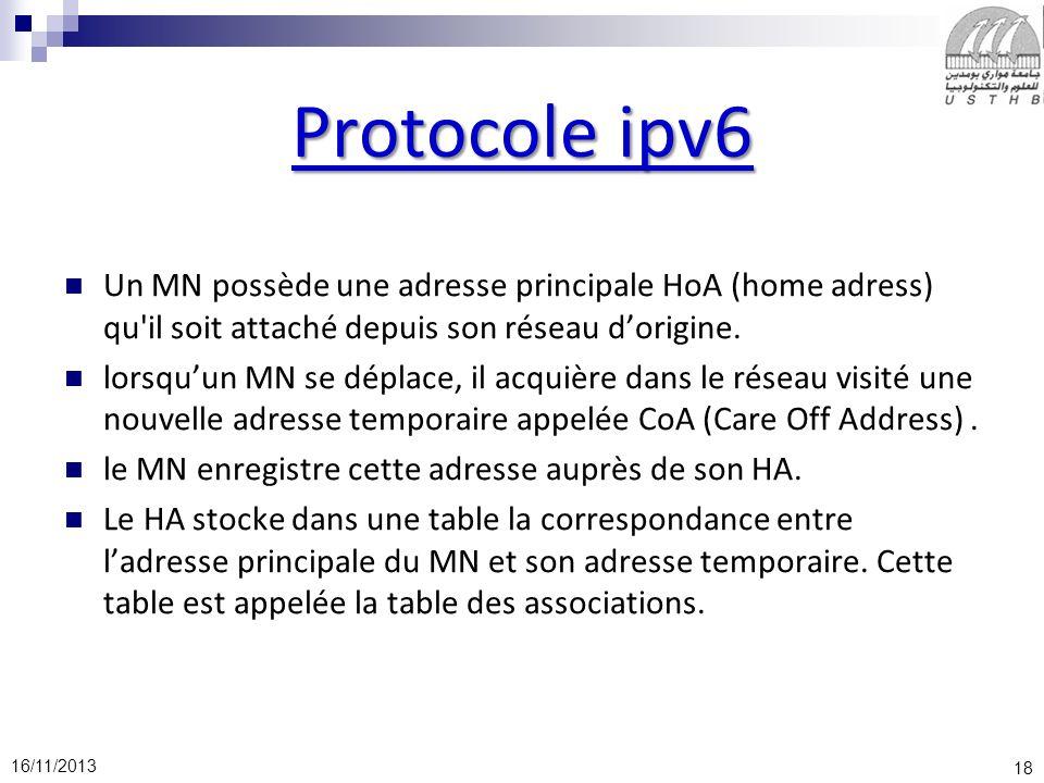 18 16/11/2013 Protocole ipv6 Un MN possède une adresse principale HoA (home adress) qu'il soit attaché depuis son réseau dorigine. lorsquun MN se dépl