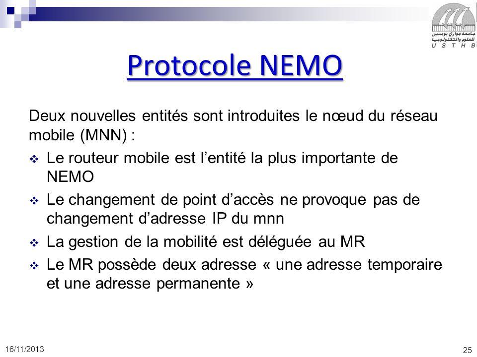 25 16/11/2013 Protocole NEMO Deux nouvelles entités sont introduites le nœud du réseau mobile (MNN) : Le routeur mobile est lentité la plus importante