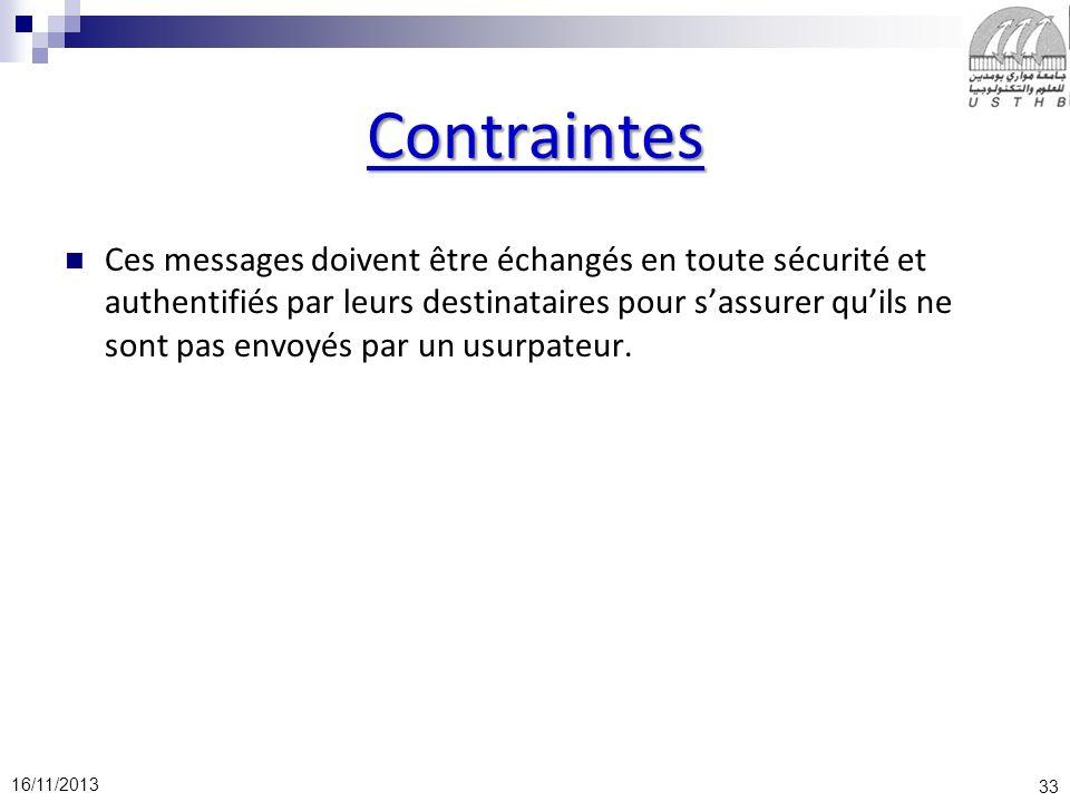 33 16/11/2013 Contraintes Ces messages doivent être échangés en toute sécurité et authentifiés par leurs destinataires pour sassurer quils ne sont pas