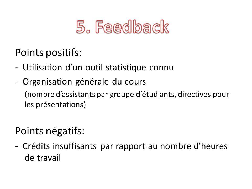 Points positifs: - Utilisation dun outil statistique connu - Organisation générale du cours (nombre dassistants par groupe détudiants, directives pour