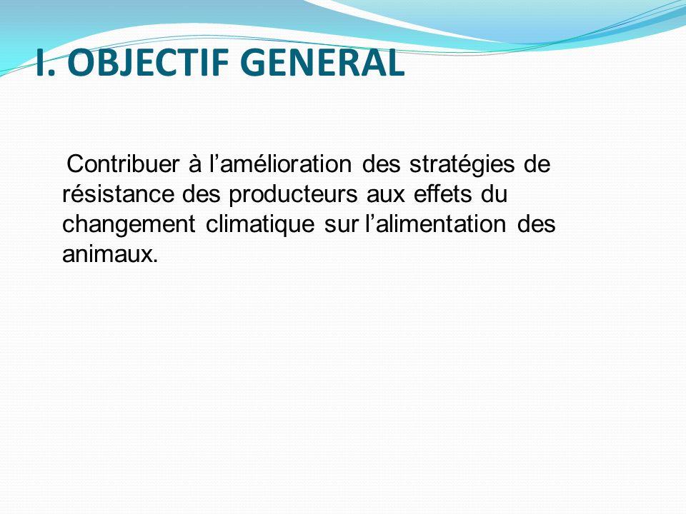 I. OBJECTIF GENERAL Contribuer à lamélioration des stratégies de résistance des producteurs aux effets du changement climatique sur lalimentation des