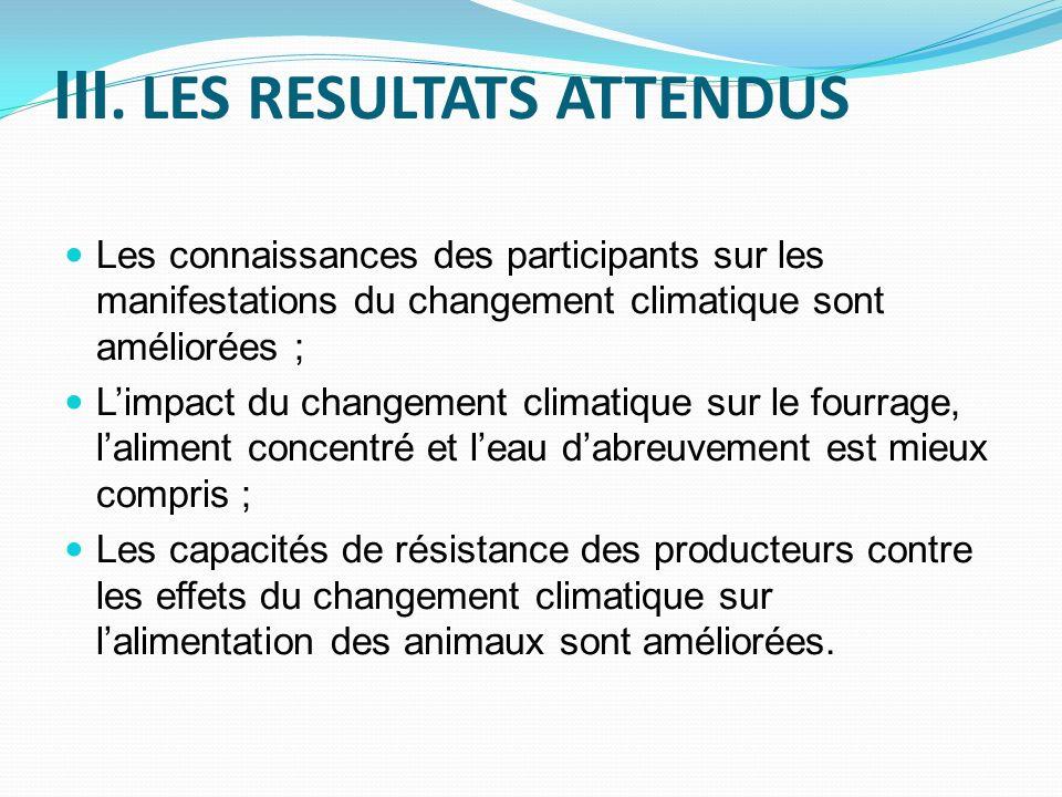 III. LES RESULTATS ATTENDUS Les connaissances des participants sur les manifestations du changement climatique sont améliorées ; Limpact du changement
