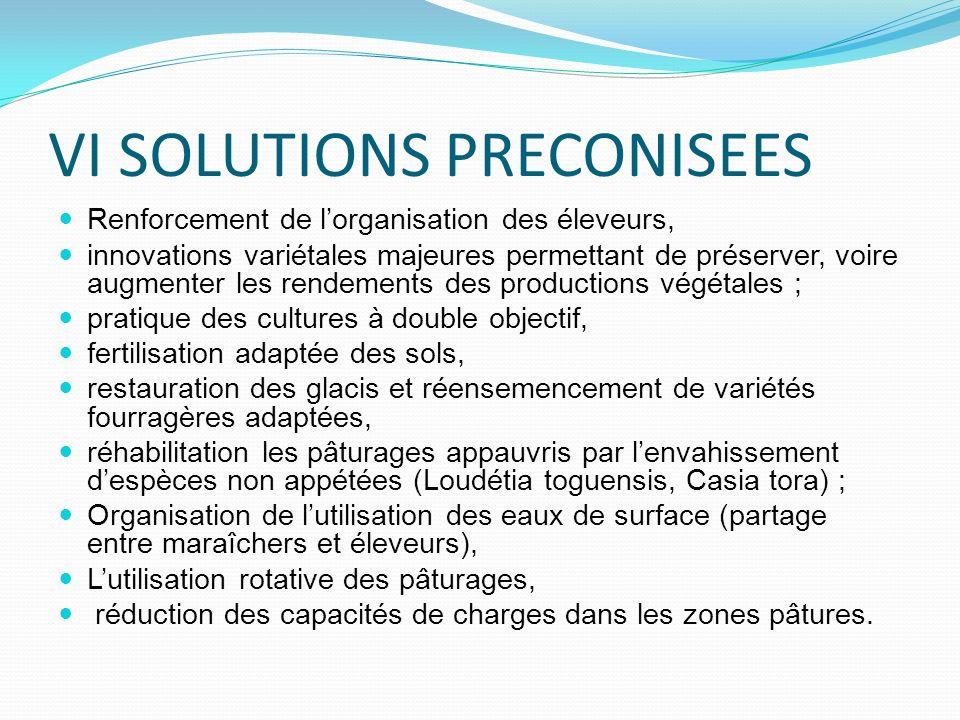 VI SOLUTIONS PRECONISEES Renforcement de lorganisation des éleveurs, innovations variétales majeures permettant de préserver, voire augmenter les rend
