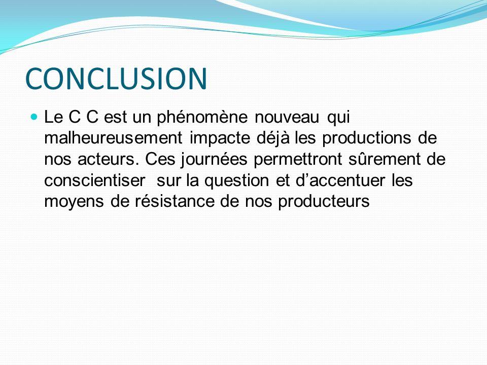 CONCLUSION Le C C est un phénomène nouveau qui malheureusement impacte déjà les productions de nos acteurs. Ces journées permettront sûrement de consc