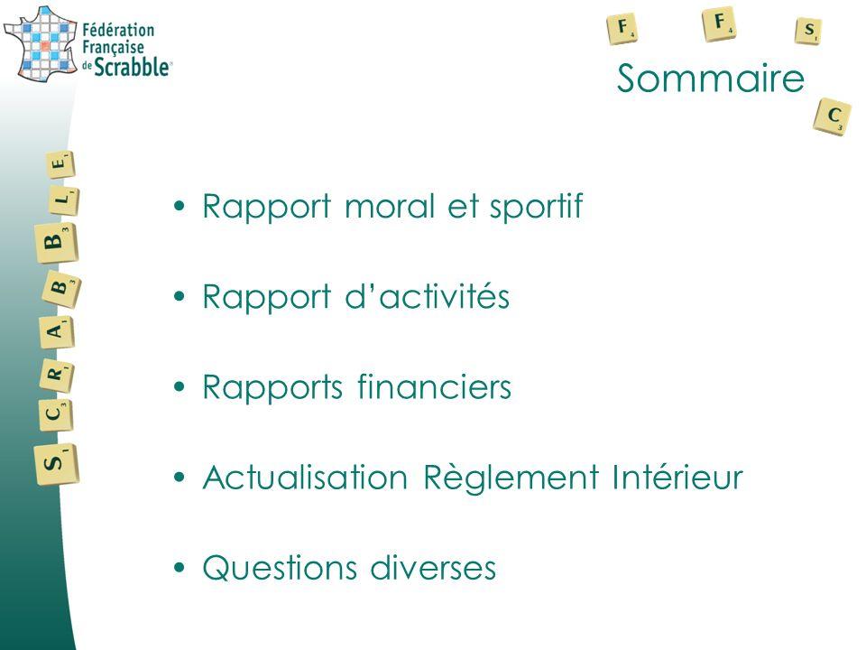 Sommaire Questions diverses Rapport dactivités Rapports financiers Rapport moral et sportifRapport moral et sportif Actualisation Règlement Intérieur