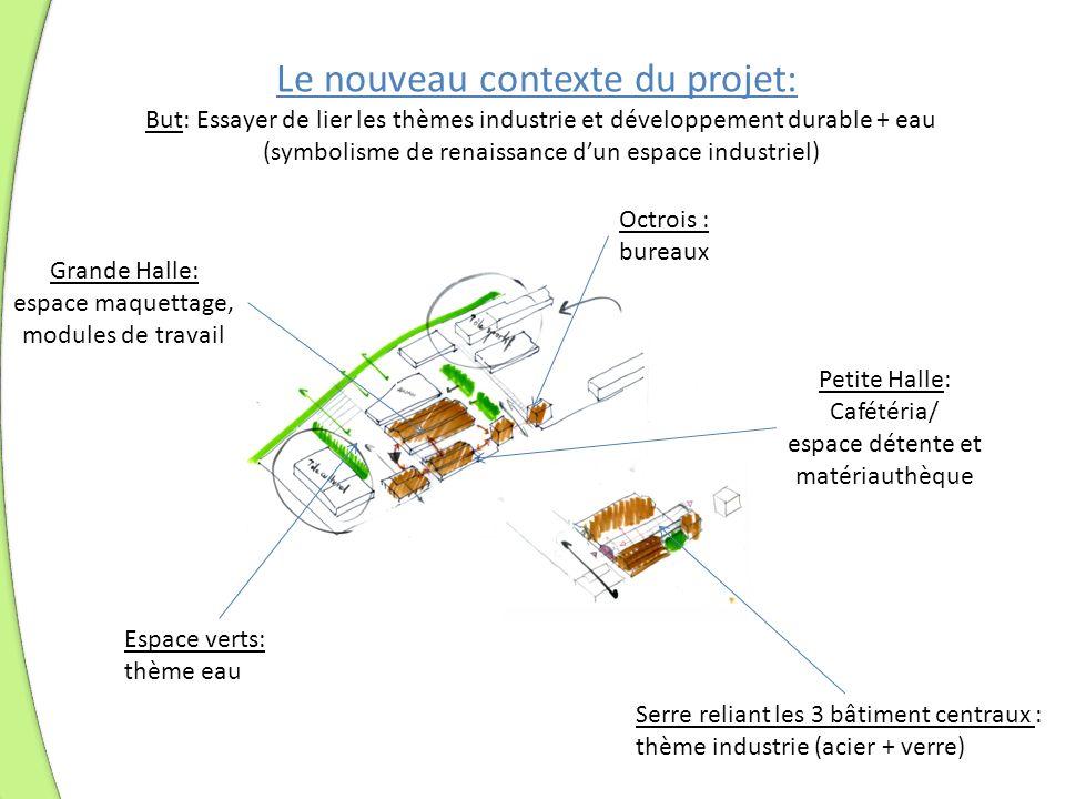 Le nouveau contexte du projet: Octrois : bureaux Petite Halle: Cafétéria/ espace détente et matériauthèque Grande Halle: espace maquettage, modules de