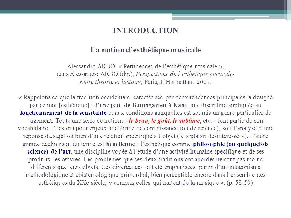 INTRODUCTION INTRODUCTION La notion desthétique musicale Alessandro ARBO, « Pertinences de lesthétique musicale », dans Alessandro ARBO (dir.), Perspe