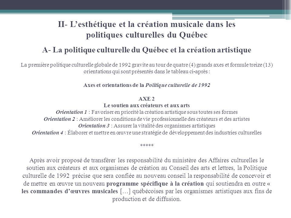 II- Lesthétique et la création musicale dans les politiques culturelles du Québec A- La politique culturelle du Québec et la création artistique La pr