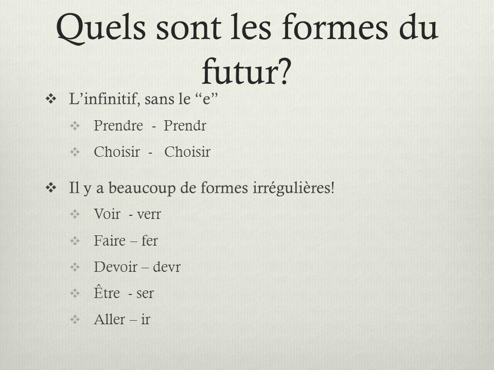 Quels sont les formes du futur? Linfinitif, sans le e Prendre - Prendr Choisir - Choisir Il y a beaucoup de formes irrégulières! Voir - verr Faire – f