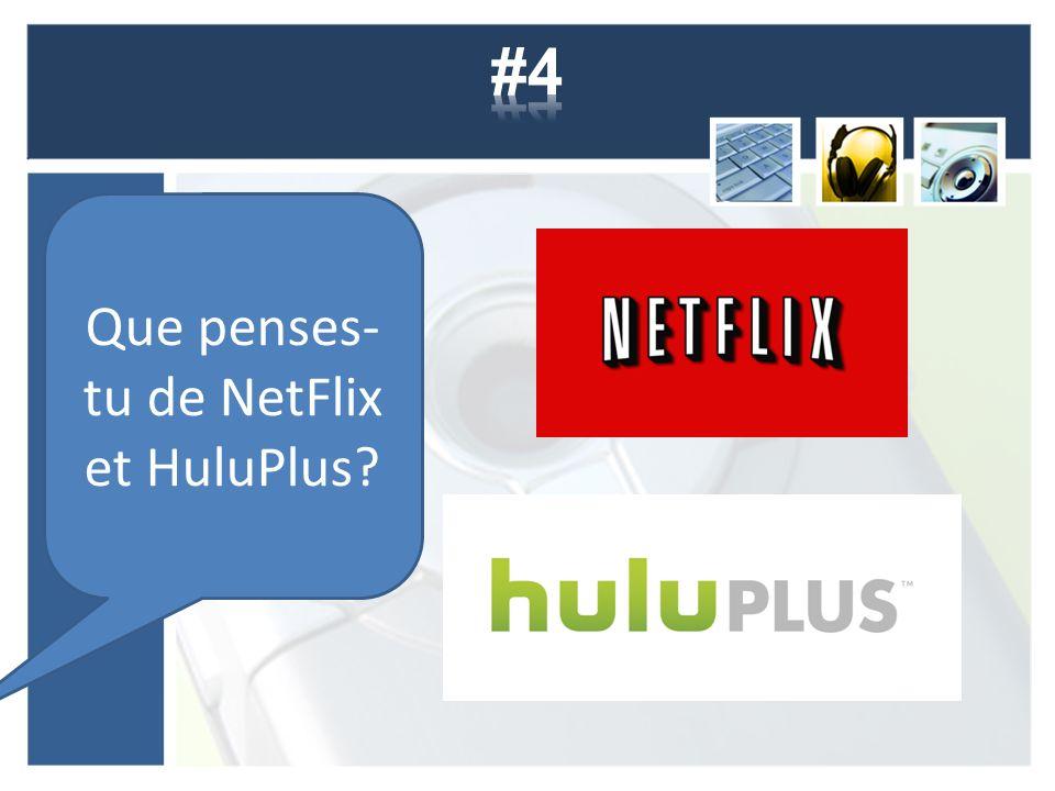 Que penses- tu de NetFlix et HuluPlus
