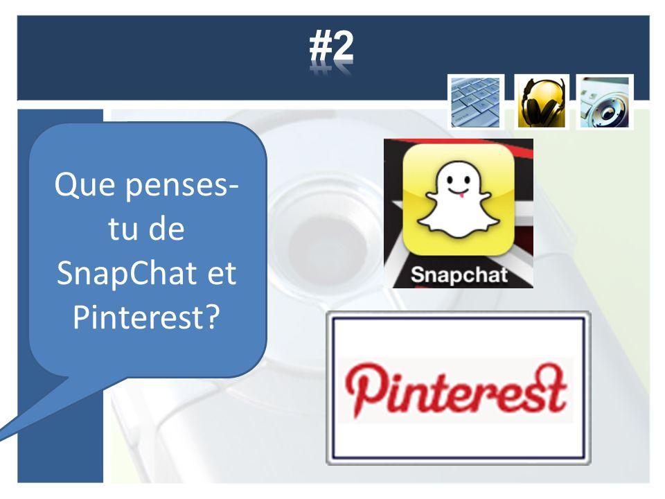 Que penses- tu de SnapChat et Pinterest?