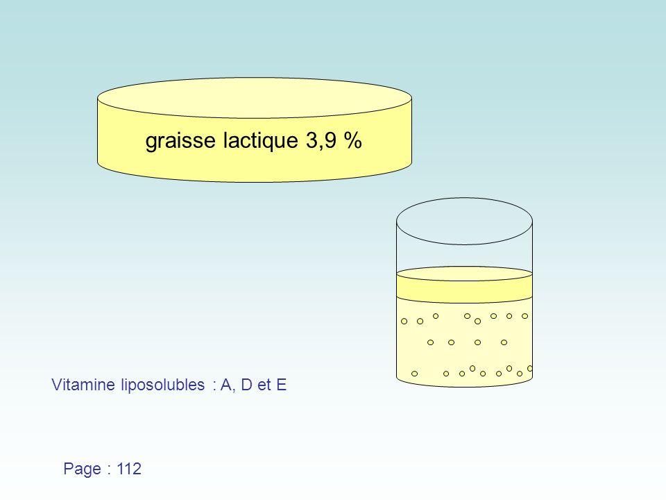 graisse lactique 3,9 % Vitamine liposolubles : A, D et E Page : 112