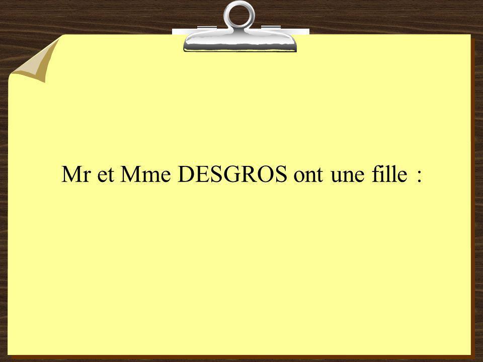Mr et Mme DESGROS ont une fille :