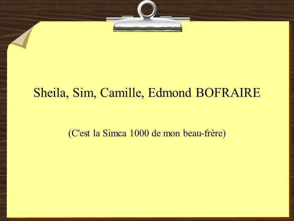 Sheila, Sim, Camille, Edmond BOFRAIRE (C est la Simca 1000 de mon beau-frère)