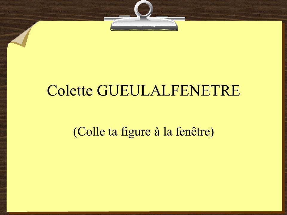 Colette GUEULALFENETRE (Colle ta figure à la fenêtre)