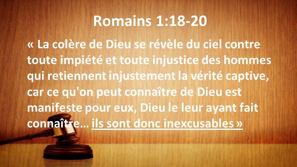 Romains 1:18-20 « La colère de Dieu se révèle du ciel contre toute impiété et toute injustice des hommes qui retiennent injustement la vérité captive,