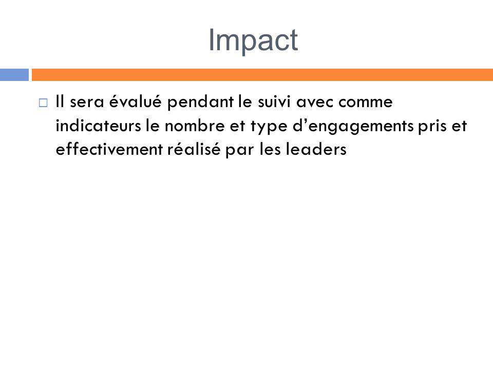 Impact Il sera évalué pendant le suivi avec comme indicateurs le nombre et type dengagements pris et effectivement réalisé par les leaders
